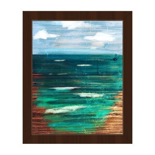 'Painted Ocean' Espresso Plastic Framed Canvas Wall Art