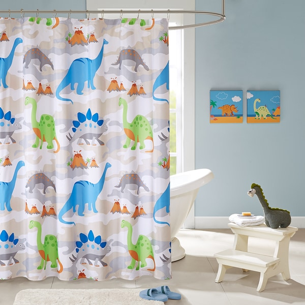 sharp bathroom window coverings | Shop Mi Zone Kids Sharp Tooth Multi Printed Shower Curtain ...