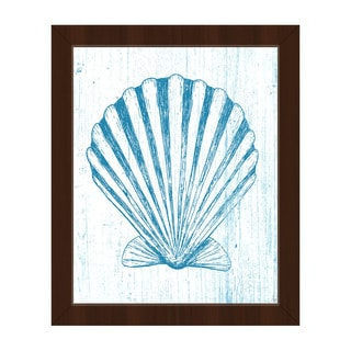 'Seashell on Blue' Framed Canvas Wall Art