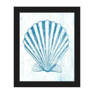 Seashell on Blue' Framed Canvas Wall Art