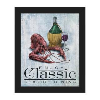 'Classic Lobster' Blue Canvas/Plastic Framed Wall Art