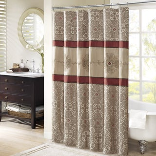 Madison Park Blaine Red Jacquard Shower Curtain With Embroidery