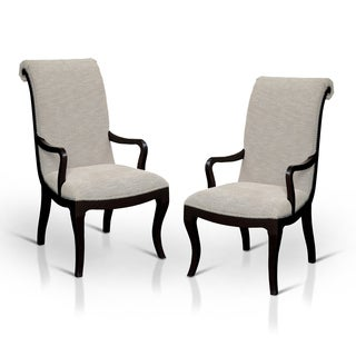 Furniture of America Daphne Scroll Back Nailhead Trim Fabric Arm Chair (Set of 2)