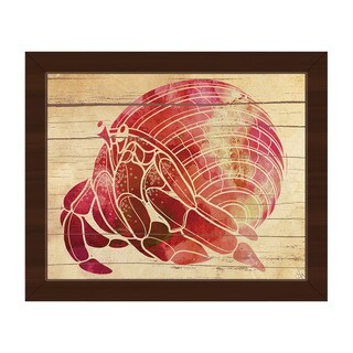 'Watercolor Hermit Crab' Brown Canvas Framed Wall Art
