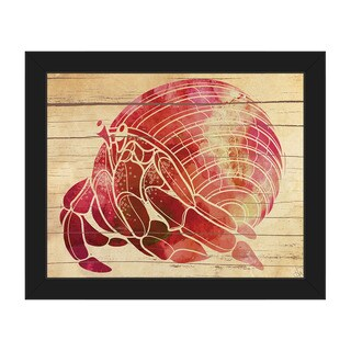 'Watercolor Hermit Crab' Canvas Framed Wall Art