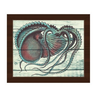 'Aquamarine Octopus' Framed Canvas Wall Art