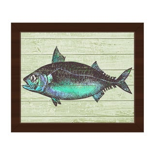 'Aqua Fish' Canvas Framed Wall Art