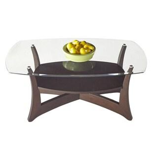 Progressive Abacoa Brown Veneer and Glass Rectangular Cocktail Table