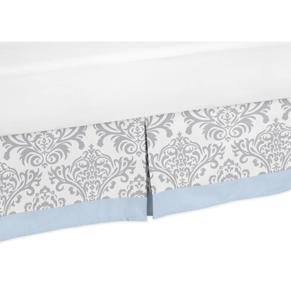 Sweet Jojo Designs Blue and Grey Avery Queen-size Bedskirt