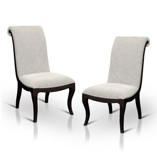 Furniture of America Daphne Scroll Back Nailhead Trim Fabric Dining Chair (Set of 2)