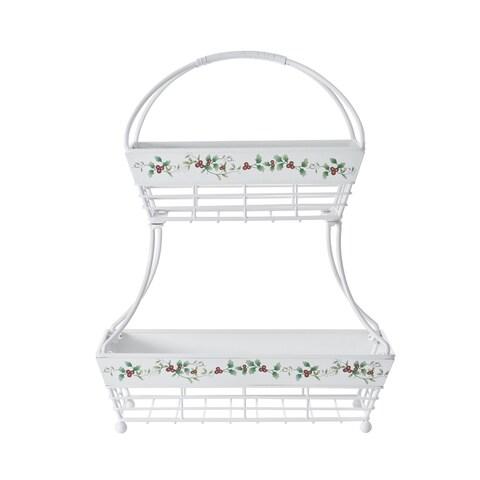 Pfaltzgraff Winterberry Wrought-iron 2-tier Flatback Basket