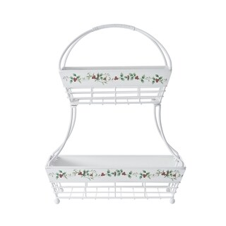 Pfaltzgraff Winterberry Wrought-iron 2-tier Flatback Basket
