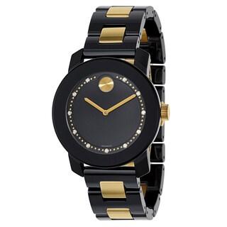 Movado Women's Black/Goldplated Stainless Steel Ceramic Bracelet Watch