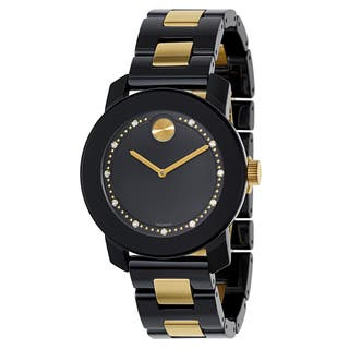 Movado Women's Black/Goldplated Stainless Steel Ceramic Bracelet Watch|https://ak1.ostkcdn.com/images/products/12915299/P19670234.jpg?impolicy=medium