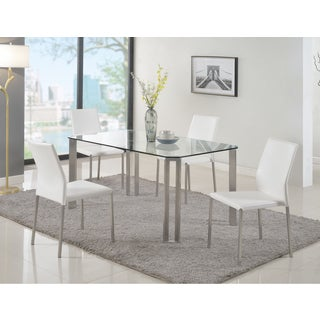 Christopher Knight Home Raika Brushed-stainless-steel-finished Metal, White PVC, and Glass 5-piece Dining Set