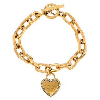 Michael Kors Goldtone Stainless Steel Crystal Heart Toggle Bracelet