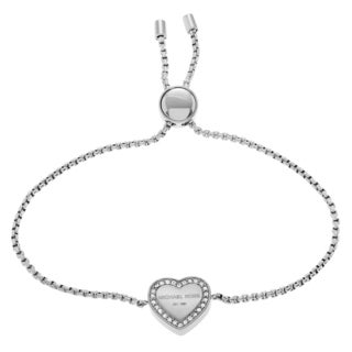 Michael Kors Stainless Steel Crystal Logo Heart Slider Bracelet