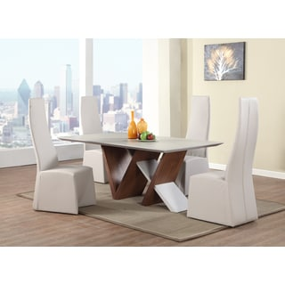 Christopher Knight Home Rae White MDF, Wood and Veneer 5-piece Dining Set