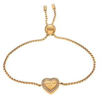 Michael Kors Goldtone Stainless Steel Crystal Accent Logo Heart Slider Bracelet