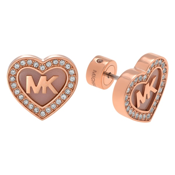 5475cb363 Michael Kors Rose Goldtone Stainless Steel Crystal Accent Logo Heart Stud  Earrings