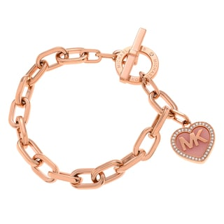 Michael Kors Rose Goldtone Stainless Steel Crystal Logo Heart Charm Toggle Bracelet