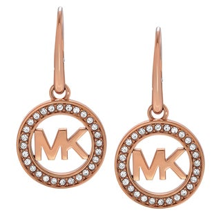 Michael Kors Rose Goldtone Stainless Steel Crystal Accent Logo Dangle Earrings