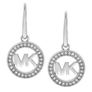 Michael Kors Stainless Steel Crystal Accent Logo Dangle Earrings