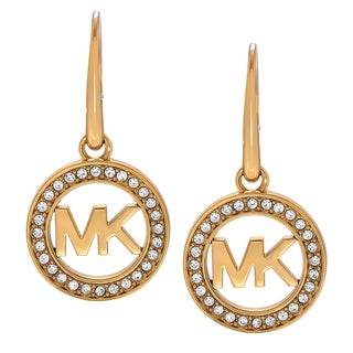Michael Kors Goldtone Stainless Steel Crystal Accent Logo Dangle Earrings