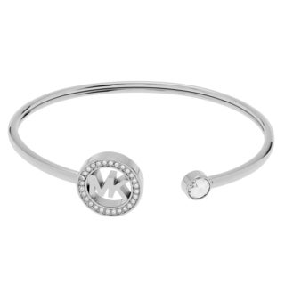 Michael Kors Stainless Steel Crystal Accent Logo Cuff Bracelet
