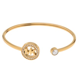 Michael Kors Goldtone Stainless Steel Crystal Accent Logo Cuff Bracelet