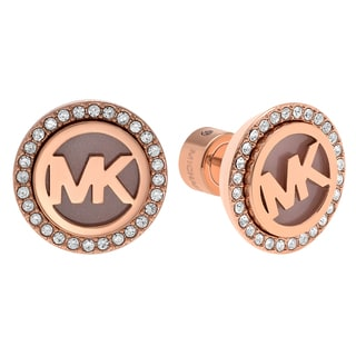 Michael Kors Rose Goldtone Stainless Steel Crystal Accent Logo Circle Stud Earrings