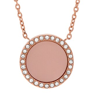 Michael Kors Rose Goldtone Stainless Steel Crystal Accent Medallion Necklace