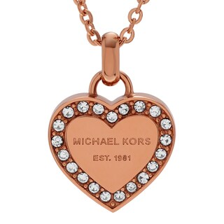 Michael Kors Rose Goldtone Stainless Steel Crystal Heart Logo Necklace