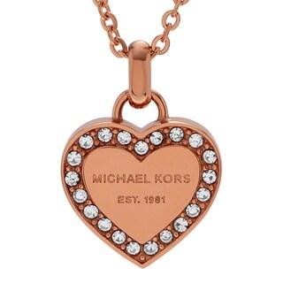 Michael Kors Rose Goldtone Stainless Steel Crystal Heart Logo Necklace