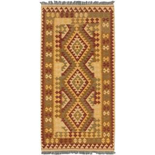 Hand-woven Anatolian Kilim Red and Yellow Wool Area Rug (3'3 x 6'7)
