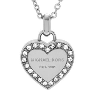 Michael Kors Stainless Steel Crystal Accent Logo Heart Necklace