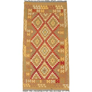 eCarpetGallery Hand-woven Kashkoli Kilim Brown Wool Rug (3'5 x 6'3)
