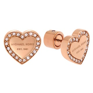 Michael Kors Rose Goldtone Stainless Steel Crystal Accent Logo Heart Stud Earrings