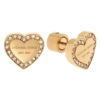 Michael Kors Goldtone Stainless Steel Crystal Accent Logo Heart Stud Earrings