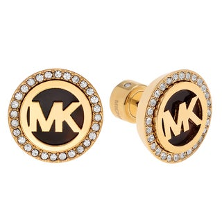 Michael Kors Goldtone Stainless Steel Crystal Accent Logo Stud Earrings
