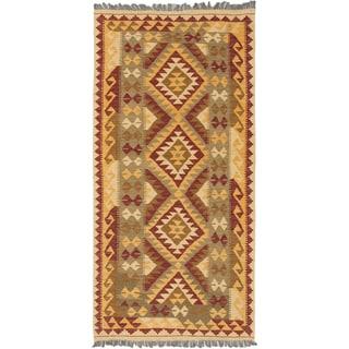 eCarpetGallery Red/Yellow Wool Handwoven Hereke Kilim Kilim (3'4 x 7'0)