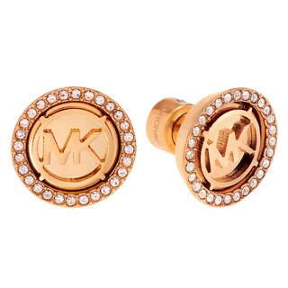 Michael Kors Stainless Steel Crystal Accent Logo Disc Stud Earrings