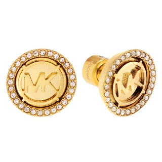 Michael Kors Goldtone Stainless Steel Crystal Accent Logo Disc Stud Earrings