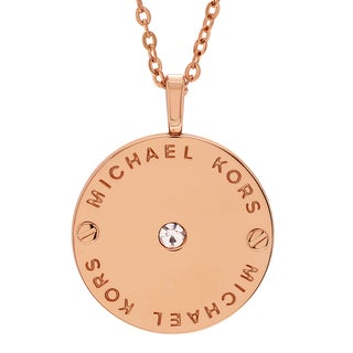Michael Kors Rose Goldtone Stainless Steel Crystal Accent Logo Disc Necklace