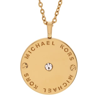 Michael Kors Goldtone Stainless Steel Crystal Accent Logo Disc Necklace