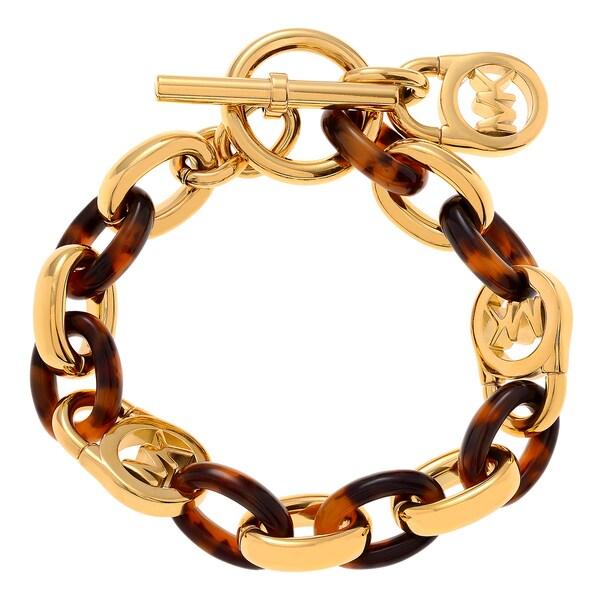 1c4f8d2a78d4b Shop Michael Kors Goldtone Stainless Steel Logo Lock Toggle Bracelet ...