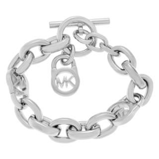 Michael Kors Stainless Steel Logo Lock Chain Toggle Bracelet
