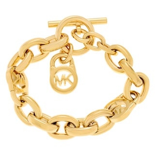 Michael Kors Goldtone Stainless Steel Logo Lock Toggle Bracelet