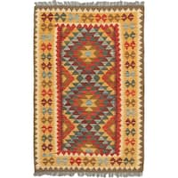 eCarpetGallery Orange/Red Wool Hand-woven Hereke Kilim Rug (3'6 x 5'3)