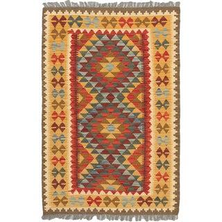 eCarpetGallery Orange/Red Wool Hand-woven Hereke Kilim Rug (3'6 x 5'3)
